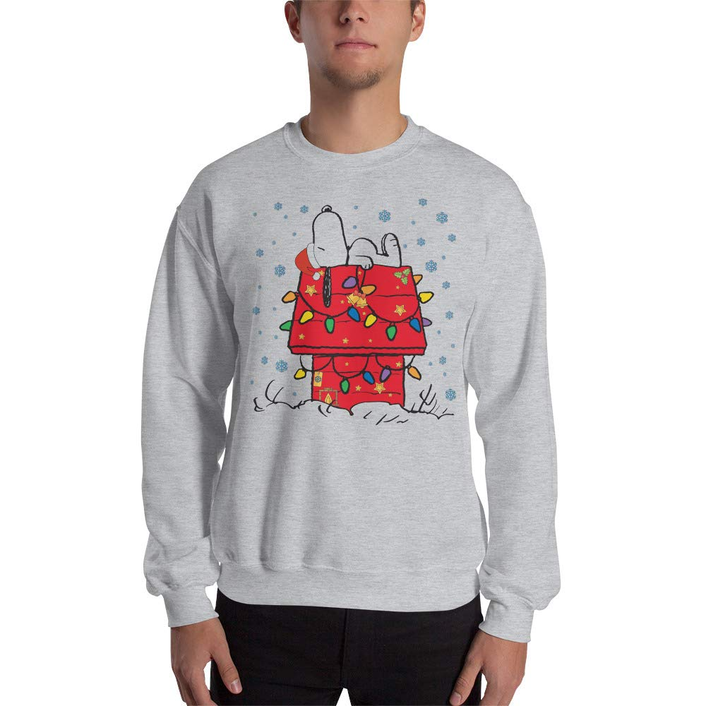 Sport Grey Large Snoopy Christmas Unisex Sweatshirt Ugly Sweater Snoopy House The Peanuts Movie