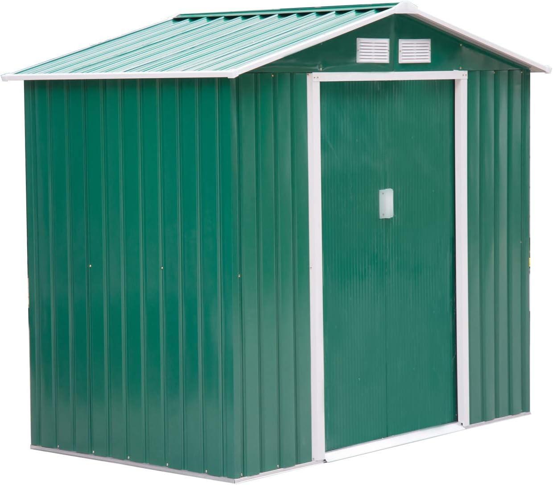 Outsunny Caseta de Jardín Tipo Cobertizo Metálico para Almacenamiento de Herramientas Base Incluida 4 Ventanas 213x127x185cm Acero Verde