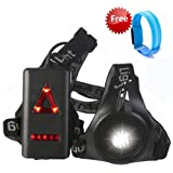 Night Running Light , BUTYPAL Set of LED Chest Torch and Rechargeable Armband Light for Runners - Waterproof 3 Modes Adjustable Strap Safety Warning Body Light for Running at Night , Dog Walking