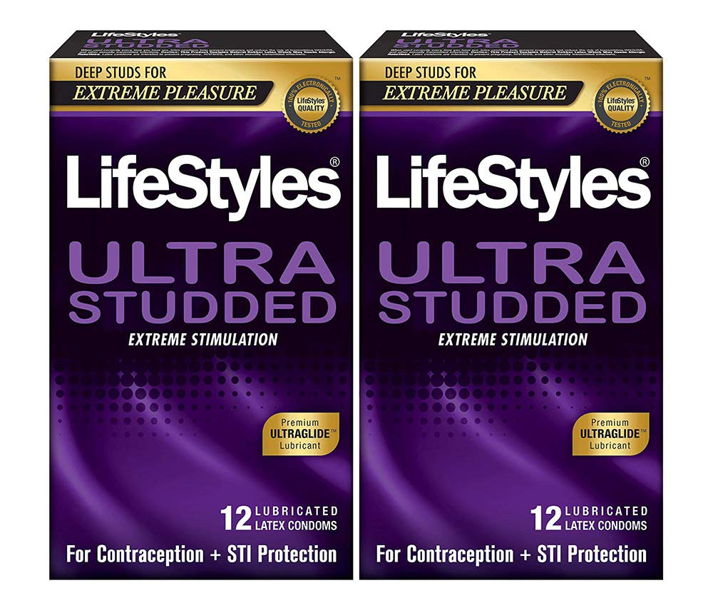 LifeStyles Ultra Studded Condoms, 2 Boxes (12 Condoms)