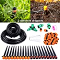 "Ohuhu 66 FT DIY Drip Irrigation Kit Plant Watering System, 2/5"" & 1/4"" Heavy Duty Tube 33 FT Each, 2 Different Emitters Drippers, Water-Saving System for Garden, Pot Plants, Flower Beds"