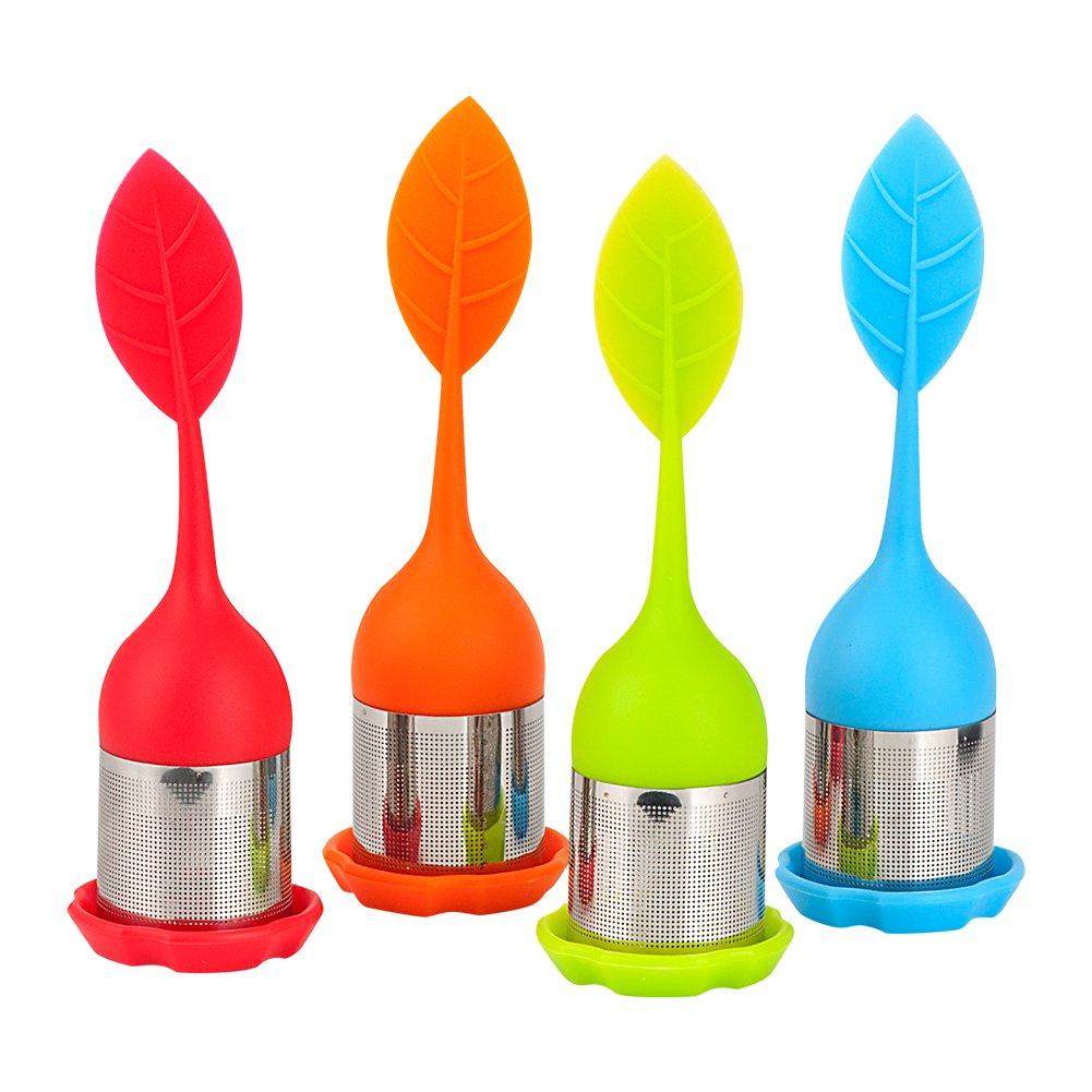 COOCANKE Tea Diffuser, Tea Infuser Strainer, Stainless Steel Tea Filter Sets with Silicone Handle for Loose Tea Leaf Grain (4pcs)