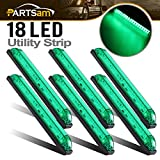 Partsam 6X 8''x1'' Submersible Green Slim Line Led Utility Strip Lights 18 Diodes Marine Boat