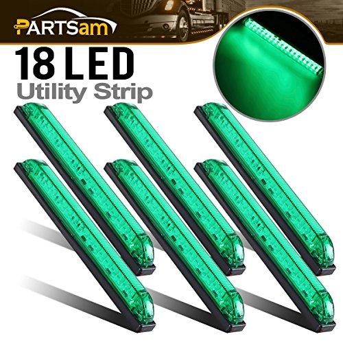 Partsam 6x 8''x1'' Submersible Green Slim Line Led Utility Strip Lights 18 Diodes Marine Boat by Partsam