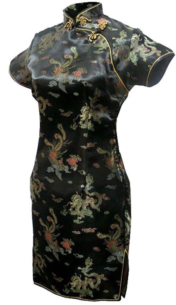 7Fairy Women's Vtg Black Mini Chinese Evening Prom Dress Cheongsam Size 18 US by 7Fairy (Image #1)