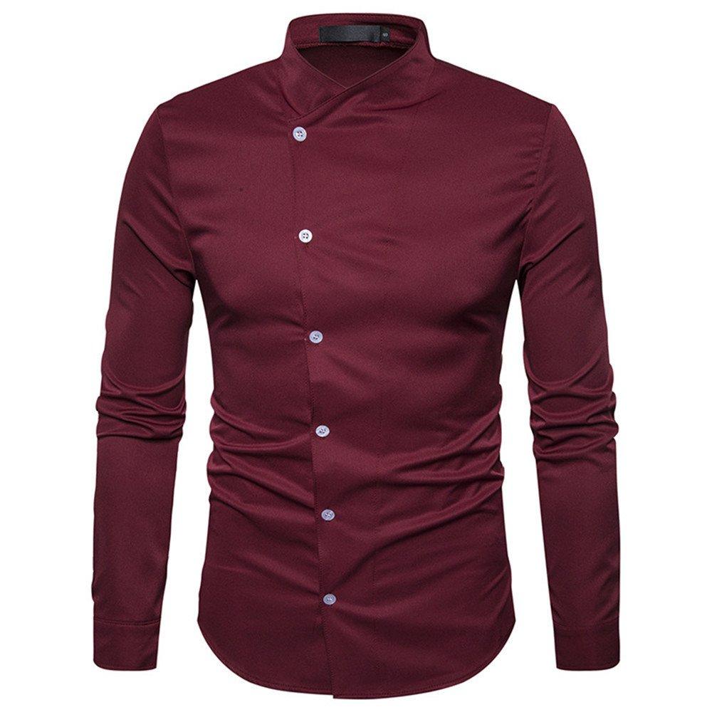 Männer - Mode lässig Hemd Kragen Hemd Farbe Button Kabel,EIN Bordeaux - Wein,XXL