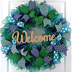 Mother's Day Gift Ideas | Everyday Wreath | Mesh Door Wreath | Navy Blue Kelly Green Turquoise P3 64