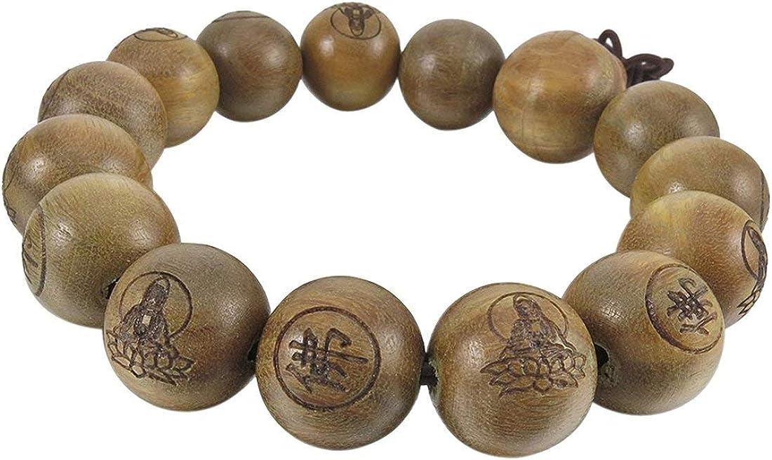 14mm Wood Bracelet Link Wrist Tibetan Buddhist Green Sandalwood Beads Prayer Mala Chinese knot Elastic Men,Women R Buddha beads bracelet SODIAL