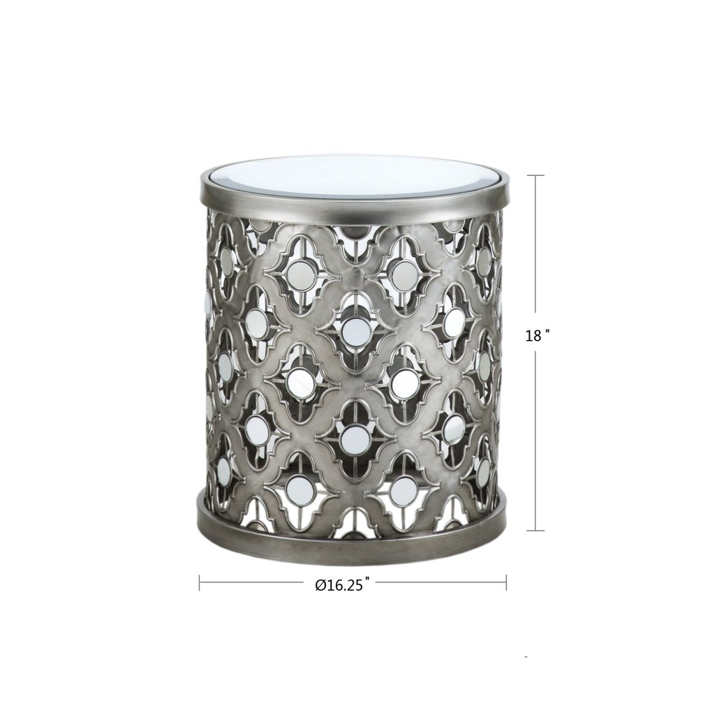 Madison Park Arian Quatrefoil Mirror Accent Table Silver See Below