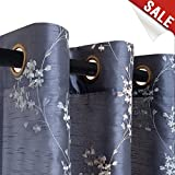 Faux Silk Floral Embroidered Grommet Top Curtains for Living Room Embroidery Curtain 84 inch Length for Bedroom, 2 Pieces, Slate Blue