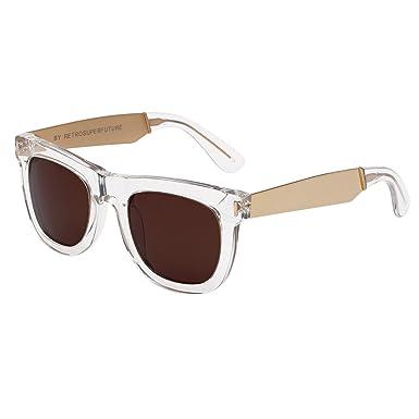 6a2e1fe913 Amazon.com  RETROSUPERFUTURE Sunglasses Ciccio 894 Francis Crystal with  Brown Zeiss Lenses  Clothing