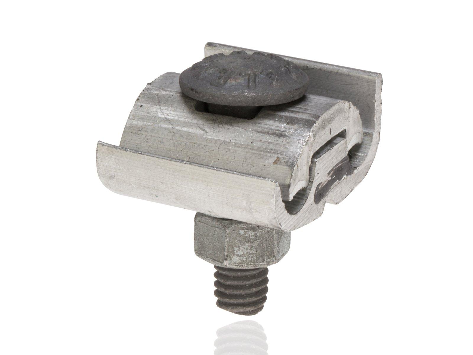Utility Connector, One and Two Bolt Aluminum Parallel Groove Clamps, 1/0-8 Main ACSR, 2/0 str-8 sol Main AL/CU, 1/0-8 Tap ACSR, 2/0 str-8 sol Tap AL/CU, 3/8'' Length