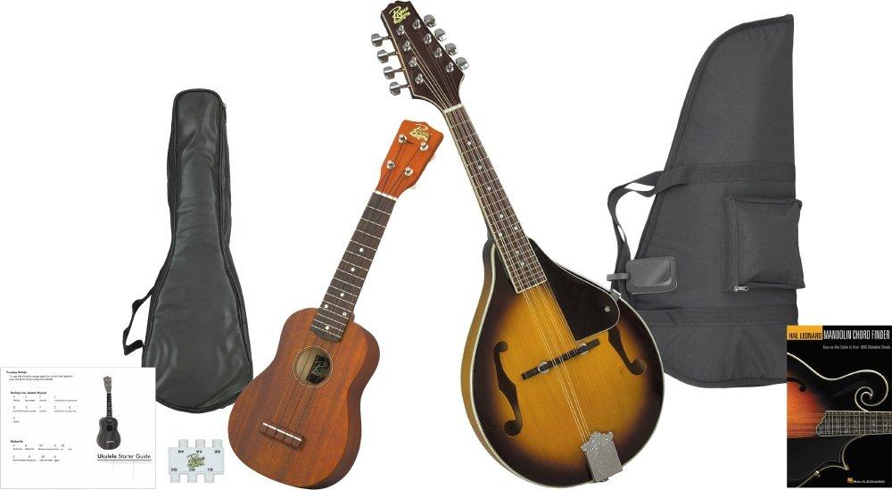 Rogue Mandolin And Ukulele Travel Pack Black KIT-582362_SO-069-RU12-BK