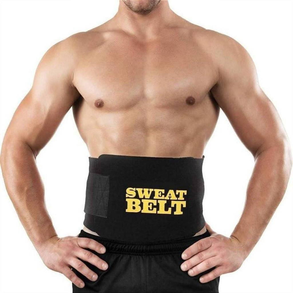 Sweet Sweat Waist Trimmer Belt Premium Fitness Belt for Men & Women Slimming Belt (Black, Large)