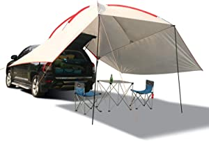 REDCAMP Waterproof Car Awning Sun Shelter, Portable Auto Canopy Camper Trailer Sun Shade for Camping, Outdoor, SUV, Beach Grey/Army Green