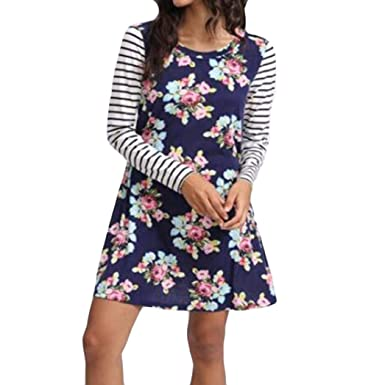 Kleid Kurz Damen Kleider A Linie Drucken Sommerkleid Langarm Gestreift Strandkleider  Elegant Minikleid Casual Locker ( 5570b28beb