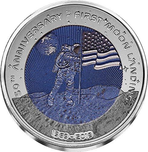 2019 GH Modern Commemorative PowerCoin MOON LANDING 50th Anniversary Titanium Coin 2 Cedis Ghana 2019 BU Brilliant Uncirculated