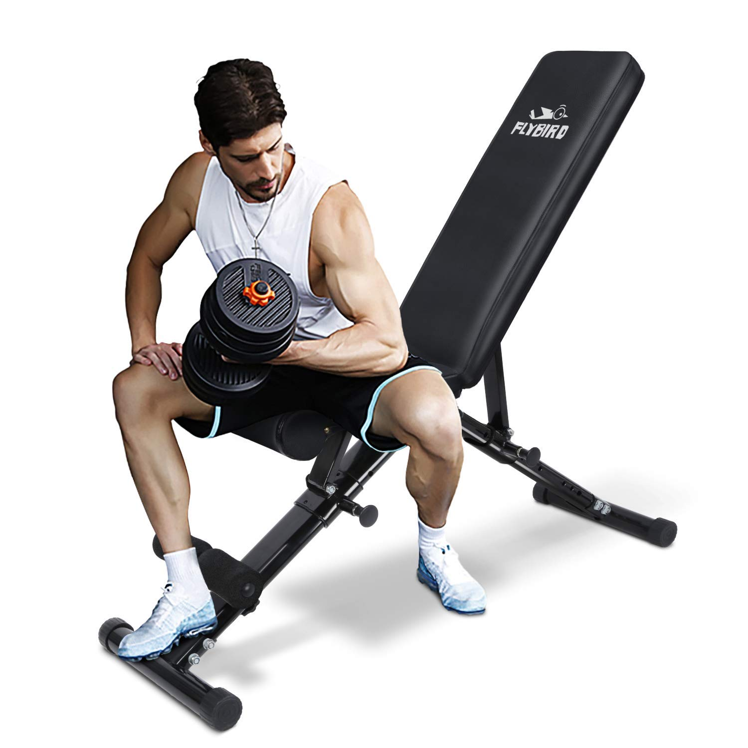 FLYBIRD Adjustable Weight Bench, Utility Gym Bench for Full Body Workout, Multi-Purpose Foldable Incline Decline Benchs