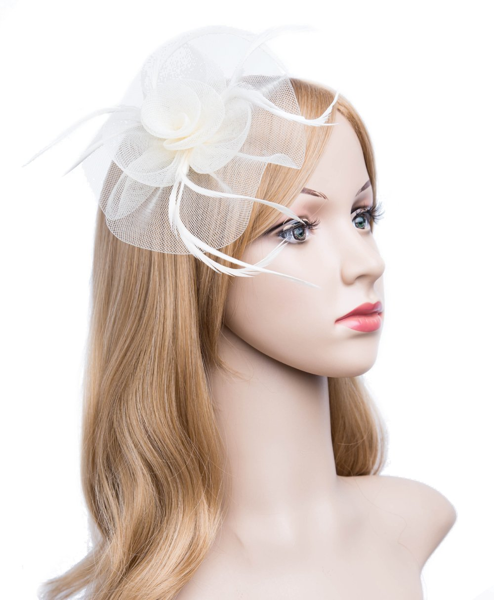 Kathyclassic Fascinator Hats for Women Feather Cocktail Party Hats Bridal Kentucky Derby Headband (Z-Ivory)
