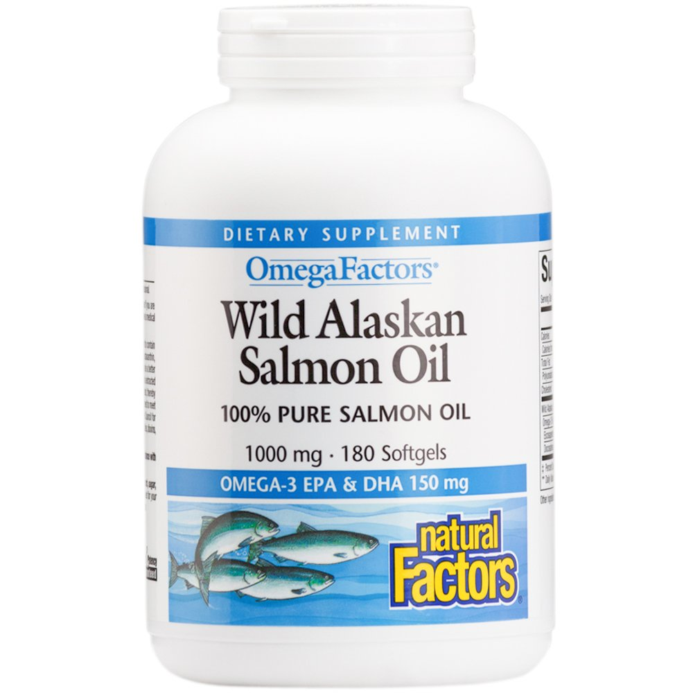 Natural Factors - Wild Alaskan Salmon Oil 1000mg, Rich in Omega-3 Fatty Acids, 180 Soft Gels