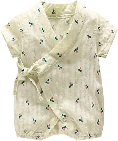 MAYOGO Ropa bebé Recién Nacido Bata Mono Bebe Kimono Ropa de Dormir Niña Mameluco Manga Corta Body de bebé niña Albornoz Estampado Pijama Pelele Correa para Chico: Amazon.es: Ropa y accesorios