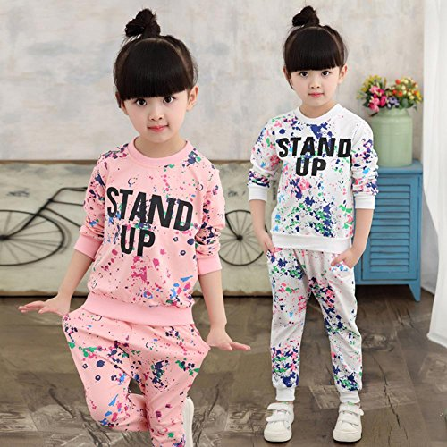 2pcs T Casual Top Neonate Pantaloni Abito Lunghi shirt Zhuotop Bianco Set UqUSwT7