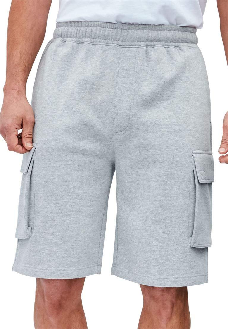 KingSize Men's Big & Tall Elastic Waist Cargo Shorts, Heather Grey Tall-6Xl