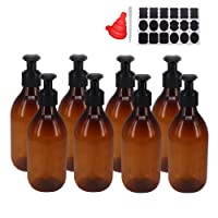 8 Pack 8OZ Empty Plastic Pump Lotion Bottles With 1 Pen, Labels & Silicone Funnel, Amber Color Lotion Dispenser With Locking Lotion Pump For Body Wash, Shampoo, Massage Lotion, Gel by ZMYBCPACK