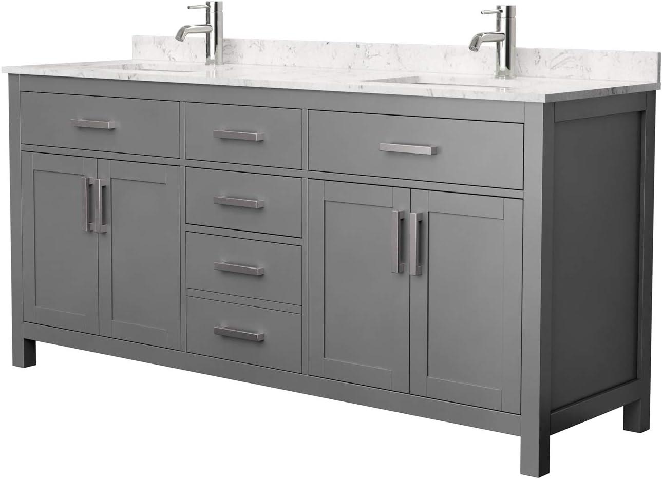 Undermount Square Sinks No Mirror Carrara Cultured Marble Countertop Beckett 72 Inch Double Bathroom Vanity In Dark Gray Bathroom Sink Vanities Accessories Tools Home Improvement Fcteutonia05 De