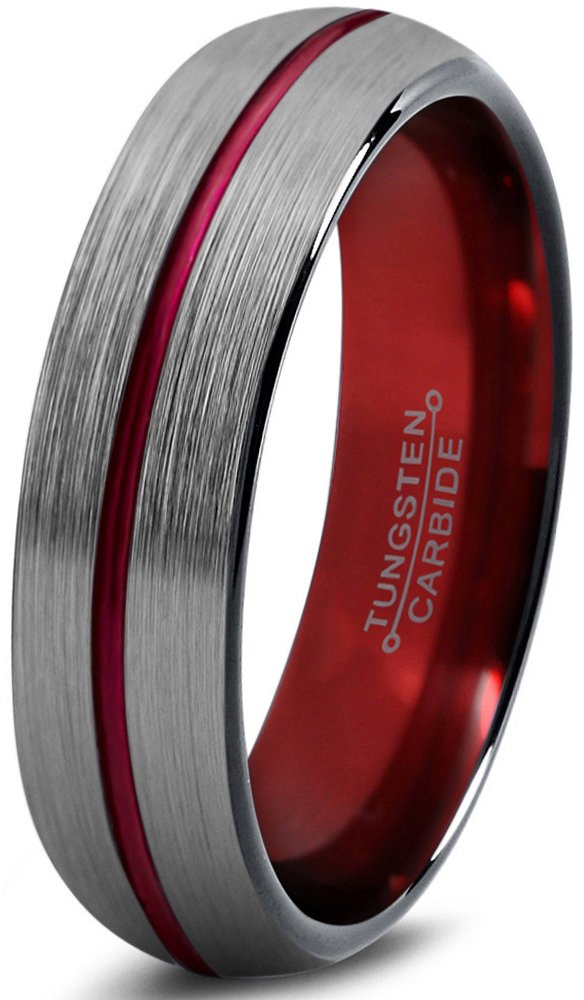 Chroma Color Collection Tungsten Wedding Band Ring 6mm for Men Women Blue Red Green Purple Black Center Line Domed Brushed Polished Size 11