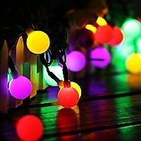 Guirnalda Luces Exterior Solar Cadena de Luces, 60 LED 10M IP65 Impermeable 8 Modos Guirnalda Luminosas, Luces Solares LED Exterior Jardin, Casas, Boda, Fiesta, Festival [Clase Energética A ++]