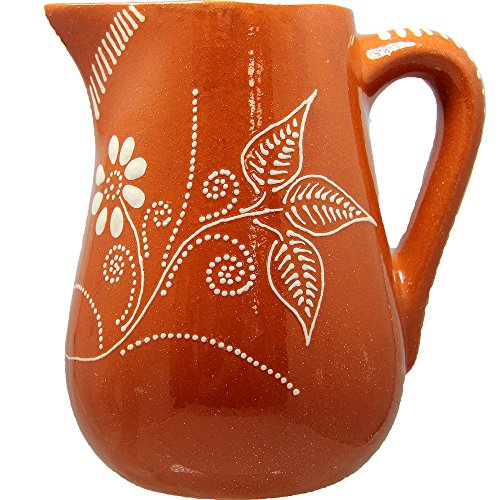 Portuguese Pottery Glazed Terracotta Hand Painted Wine Regional Pitcher (N3. 6.5 Cups - 1.5 (Glazed Pottery Pitcher)