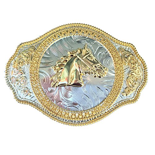 Vintage Rodeo Floral Etched Horse Head Belt Buckle Two-Tones Gold Western Cowboy