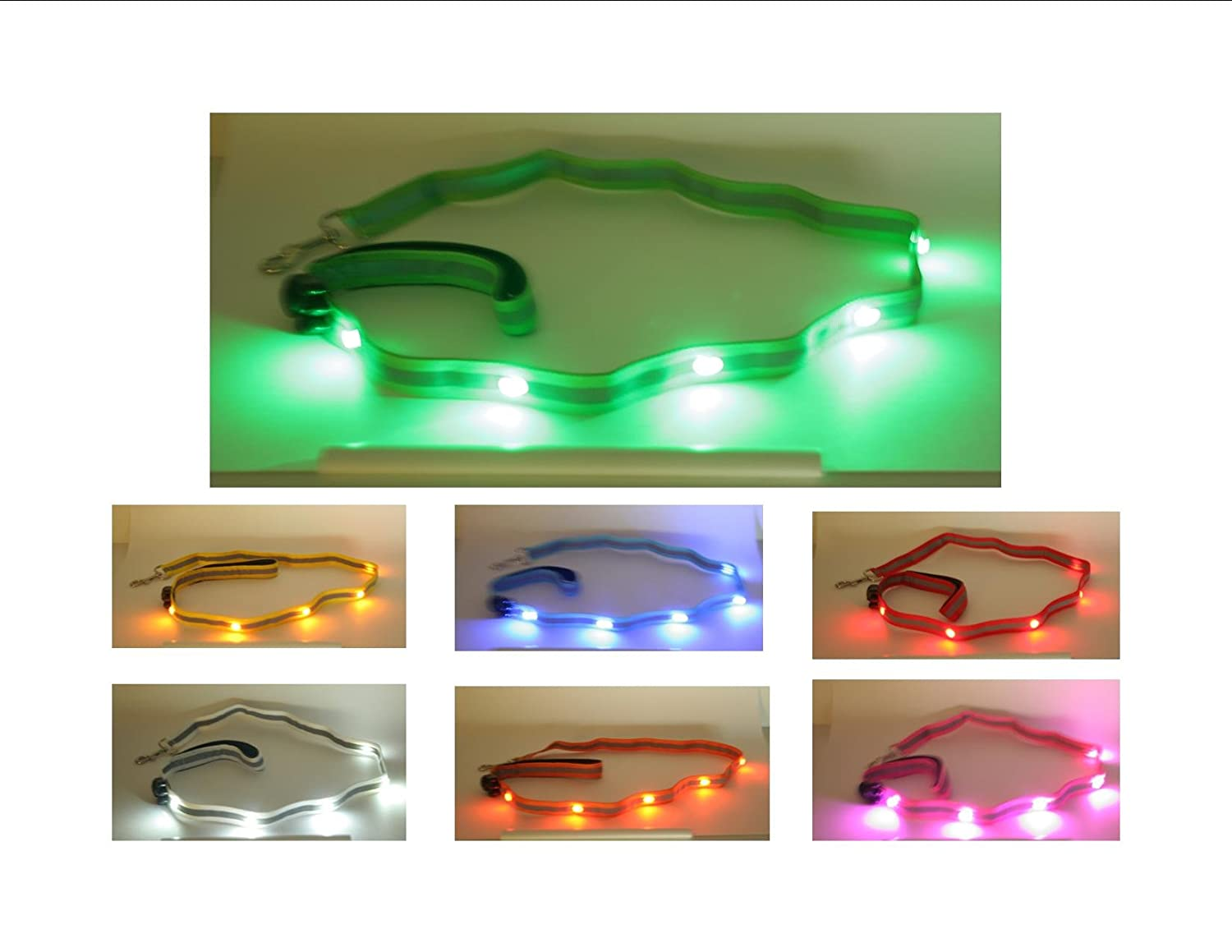 Green Wags Forever Deluxe 4' Dog Pet Leash 5 LED Light Up Strong Reflective Safety Night Day 7 colors
