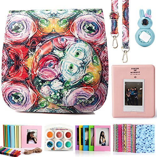 CAIUL Compatible Mini 8 Camera Case Bundle with Album, Filters & Other Accessories for Fujifilm Instax Mini 9 8 8+ (Flowers, 7 Items)