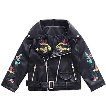 Amazon Com Loktarc Girls Faux Leather Moto Jacket Flowers