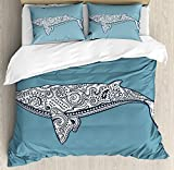 Nautical 4 Pieces Bedding Set Twin, Ethnic Whale Fish Totem Symbol Kitsch Antique Paisley Pattern, Duvet Cover Set Decorative Bedspread for Childrens/Kids/Teens/Adults, Slate Blue White