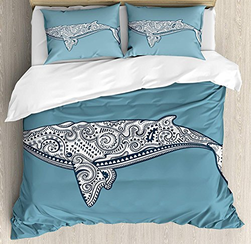 Nautical 4 Pieces Bedding Set Twin, Ethnic Whale Fish Totem Symbol Kitsch Antique Paisley Pattern, Duvet Cover Set Decorative Bedspread for Childrens/Kids/Teens/Adults, Slate Blue White by TweetyBed