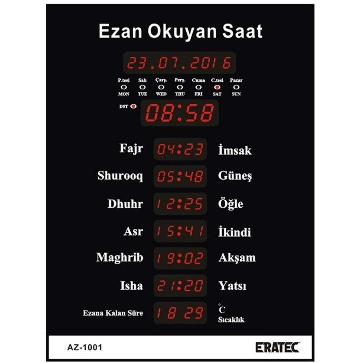 Eratec Prayer AZ Gr M Mosque Clock/Azan Watch Fajr Mosque