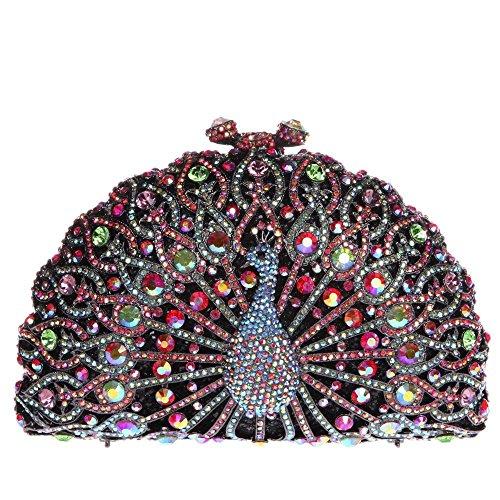 Damen Clutch Abendtasche Handtasche Geldbörse Glitzertasche Strass Kristall Pfau Tasche mit wechselbare Trageketten von Santimon Gold Santimon UVVph0f5Dv