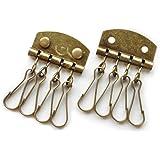 キーケース金具 4連2個セット アンティークゴールド カシメ付き シンプルタイプ 3080-1