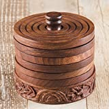 Cheap Rusticity Cool Wood Coaster Set of 6 with Holder for Beer and Other Drinks – Tower of Hanoi Design | Handmade | (3.75×3.75 in)