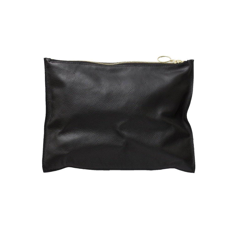 Large Black Slate Leather Zipper Clutch in Soft Onyx