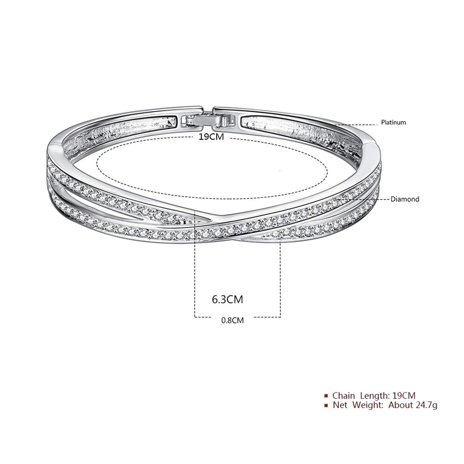 7.48 inch Feraco Criss Cross Tennis Crystal Bracelet Plated Cubic Zirconia Bangle for Bridal Mom