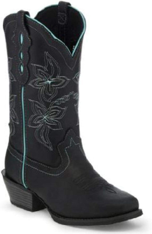 Justin Women's Buffalo Western Boot Square Toe Black 7.5 M