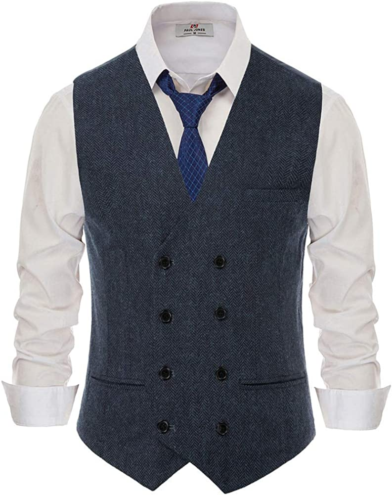 1920s Style Mens Vests PJ PAUL JONES Mens Wool Blend Tweed Waistcoat Double Breasted Slim Fit Suit Vest $27.89 AT vintagedancer.com