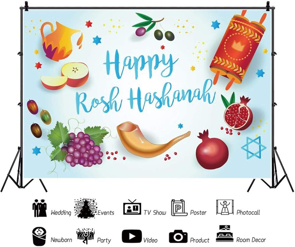 YEELE 10x10ft Shana Tova Backdrop Cartoon Pomegranate Flower Photography Background Rosh Hashana Jewish New Year Holiday Photoshoot Props Kids Adults Artistic Portrait Digital Wallpaper