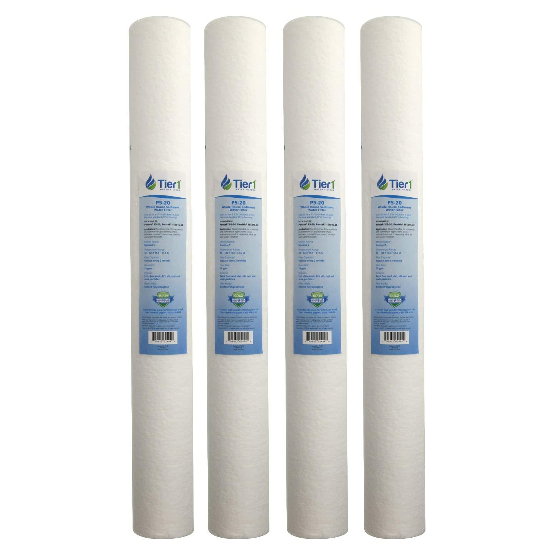 Tier1 Replacement for Pentek P5-20 5 Micron 20 x 2.5 Spun Wound Polypropylene Sediment Water Filter 4 Pack