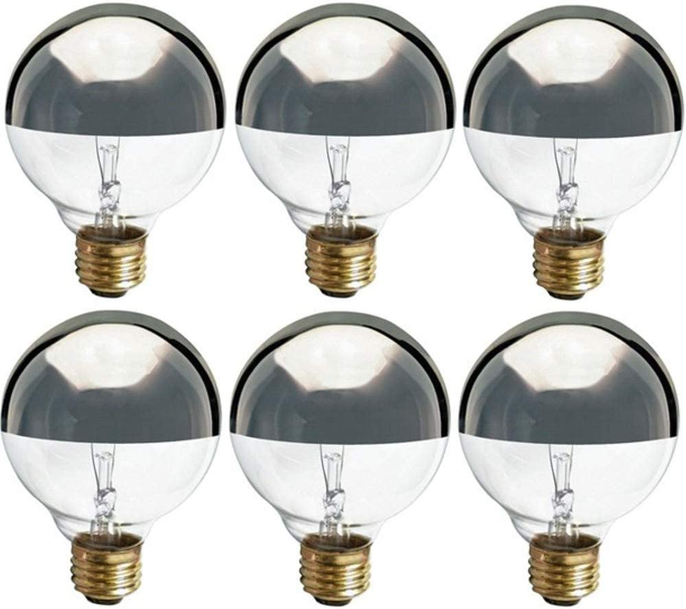280 Lumens 120 Volt G25 Globe Clear Silver Bowl 6 Pack 1,500 Life Hours Satco S3861-40 Watt Light Bulb Medium Base