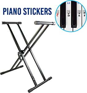 QMG Piano Keyboard Stand and Stickers – Double X, Infinitely Adjustable, Heavy-duty, the Perfect Stand for your Piano Keyboard